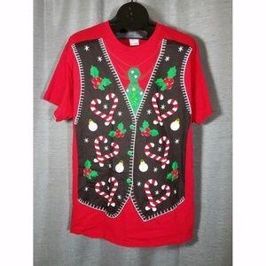 Ugly Faux Christmas Vest Adult Large Graphic Tee